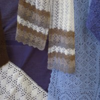 (clockwise from top) Shoormal Scarf by Ina  Irvine,  Gilda Scarf by Zena Thompson and Shelley Scarf by Lauretta Robertson