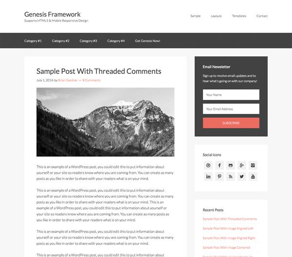 Genesis Fastest WordPress Theme For Blogging