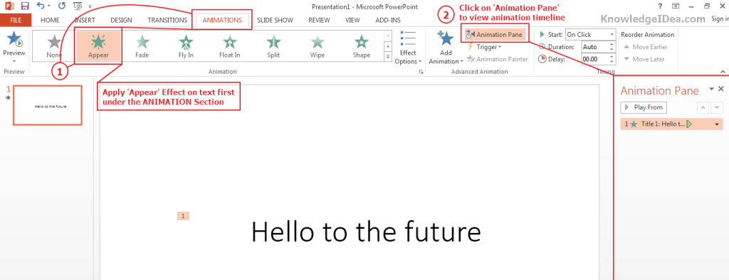 Keyboard Typing Effect on Text in PowerPoint Step 2