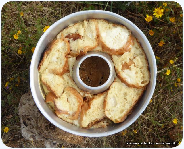 Brotpudding ein s er auflauf aus dem omnia camping - Eier weich kochen minuten ...