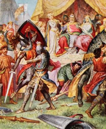 Lohengrins im Kampf mit Telramund, den der Schwanenritter besiegt.