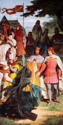 Gemeinsam mit seinem Halbbruder Feirefiß gelangt Parzival ins Hoflager von König Artus. Kundrie bittet Parzival um Verzeihung und beruft ihn auf Amfortas Thron.