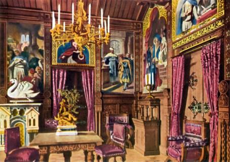 Schloss Neuschwanstein Speisezimmer von König Ludwig II. - Kolorierte Fotografie