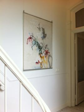 Flowers in Yellow Vase on Gallery wall Amsterdam