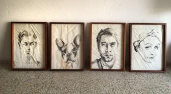 Optional: frame, handmade, carobe wood, plexiglass, 50x70 cm