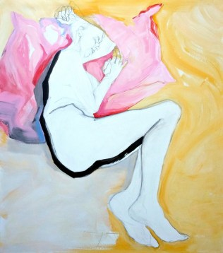 Lying in Pink and Yellow | Acrylic on wooden panel | 70x80 cm | 1400€
