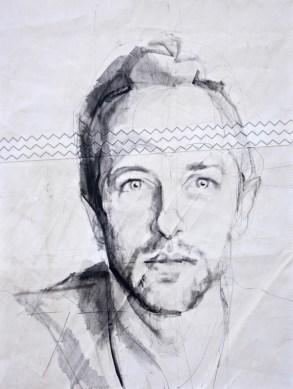 Chris Martin, portrait painting drawing