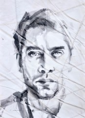 Javier Bardem, portrait painting drawing