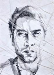 Javier Bardem, portrait painting drawing