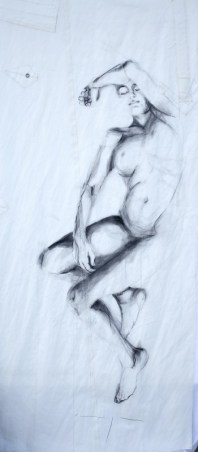 Woman Model Sail 04 | Acrylic/charcoal on sailcloth | 90x200 cm |1200€