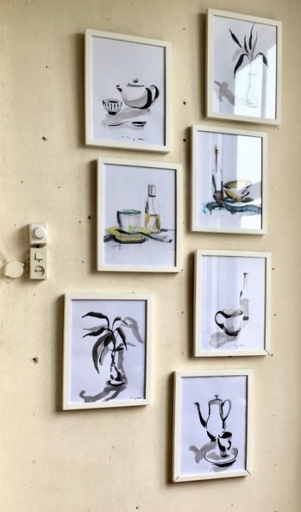 Still lifes on paper | 30 x 40 cm | framed | black: ink | 195€ (5 = 900€) colour: oil paint | 245€ (2 = 450€) | free frame