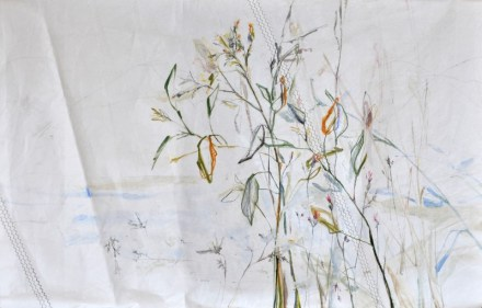 Flowers Sail Grasses | Acrylic on sailcloth | 120 x80(?)cm | Steel frame top&bottom | 1700€