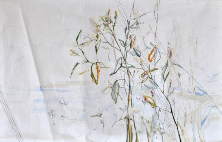 Roadside Flowers  Acrylic on sailcloth   125x200 cm   Steel frame top&bottom   1700€