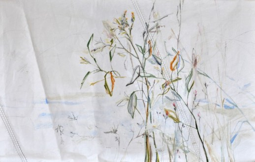Roadside Flowers |Acrylic on sailcloth | 125x200 cm | Steel frame top&bottom | 1700€