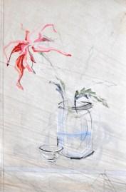 Flowers Sail Cup | |Acrylic on sailcloth | 85x130 cm | Steel frame top&bottom | 1200€