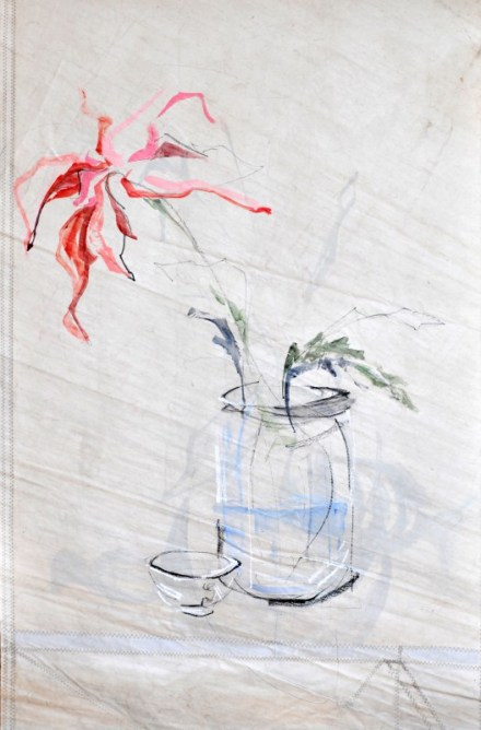 Flowers Sail Cup | |Acrylic on sailcloth | 85x130 cm | Steel frame top&bottom | 1200€
