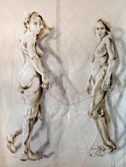 Dos Amigas |Acrylic on sailcloth | 180x225 cm | white wooden frame top&bottom | 4700€
