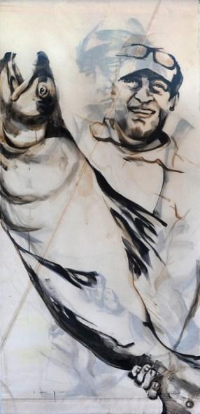 Fishermen Double sided 02b | Acrylic on sailcloth | 90x187 cm |850€