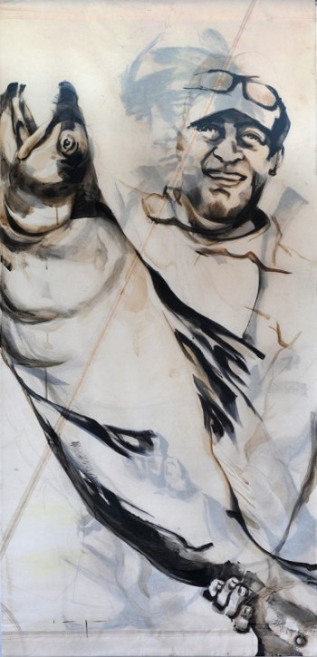 Fishermen Double sided 02b | Acrylic on sailcloth | 90x187 cm |850€