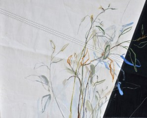 Flowers Sail Grasses |Acrylic on sailcloth | 120 x80(?)cm | Steel frame top&bottom | 1700€
