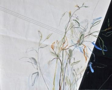 Flowers Sail Grasses | Acrylic on sailcloth | 120 x80(?)cm | Steel frame top&bottom | 1700€