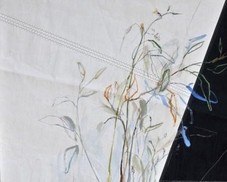 Flowers Sail Grasses  Acrylic on sailcloth   120 x80(?)cm   Steel frame top&bottom   1700€