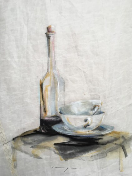 Still life | Bottle and cups | oil paint on sail | 50x70 cm | 1250€
