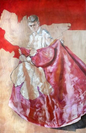 Alberto Young Bullfighter Torero | acrylic on wooden panel | 120x240 cm | 1400€