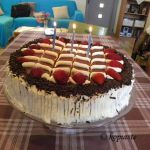 Birthday Cake with Strawberry Cream Cheese and Chocolate Glaze
