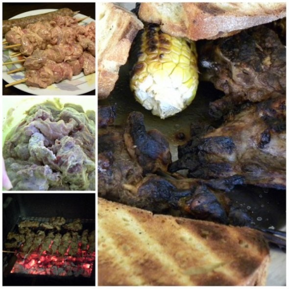 collage lamb souvlakia