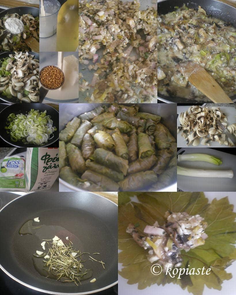 Collage Mushroom, leek, rosemary and feta