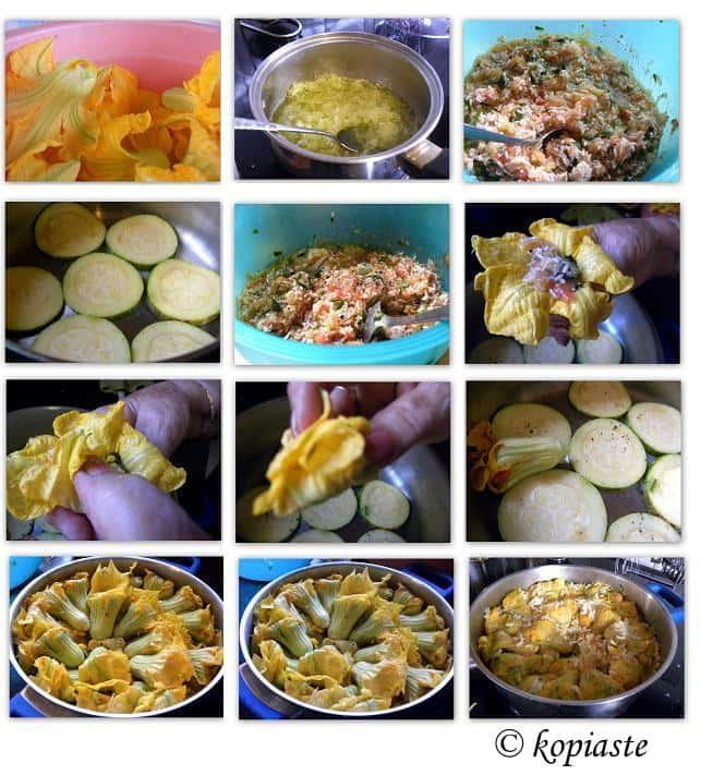 collage stuffed zucchini flowers kolokythoanthous