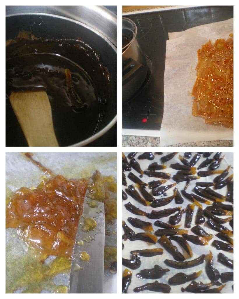 collage caramelized chocolate orange peels