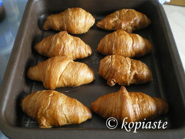 Croissants in baking tin