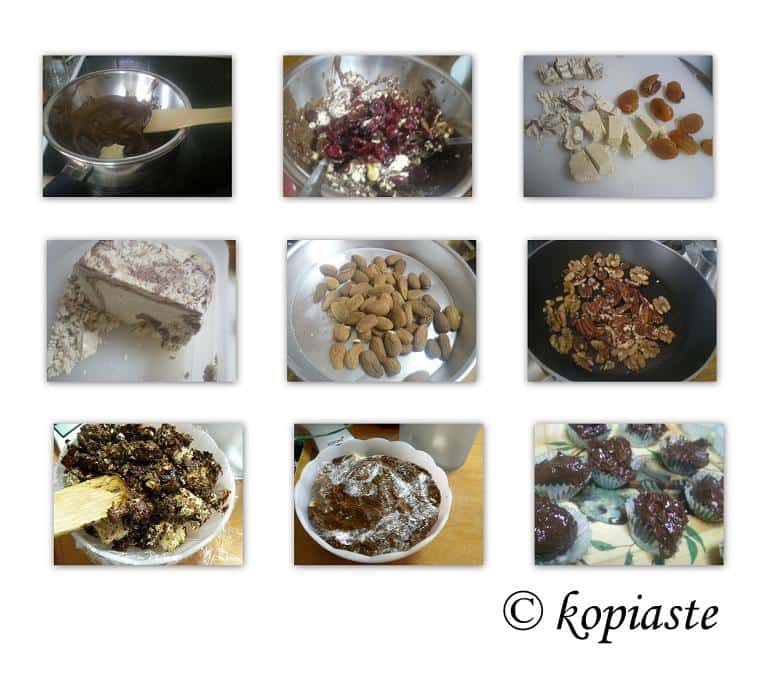 Collage Halvas with chocolate
