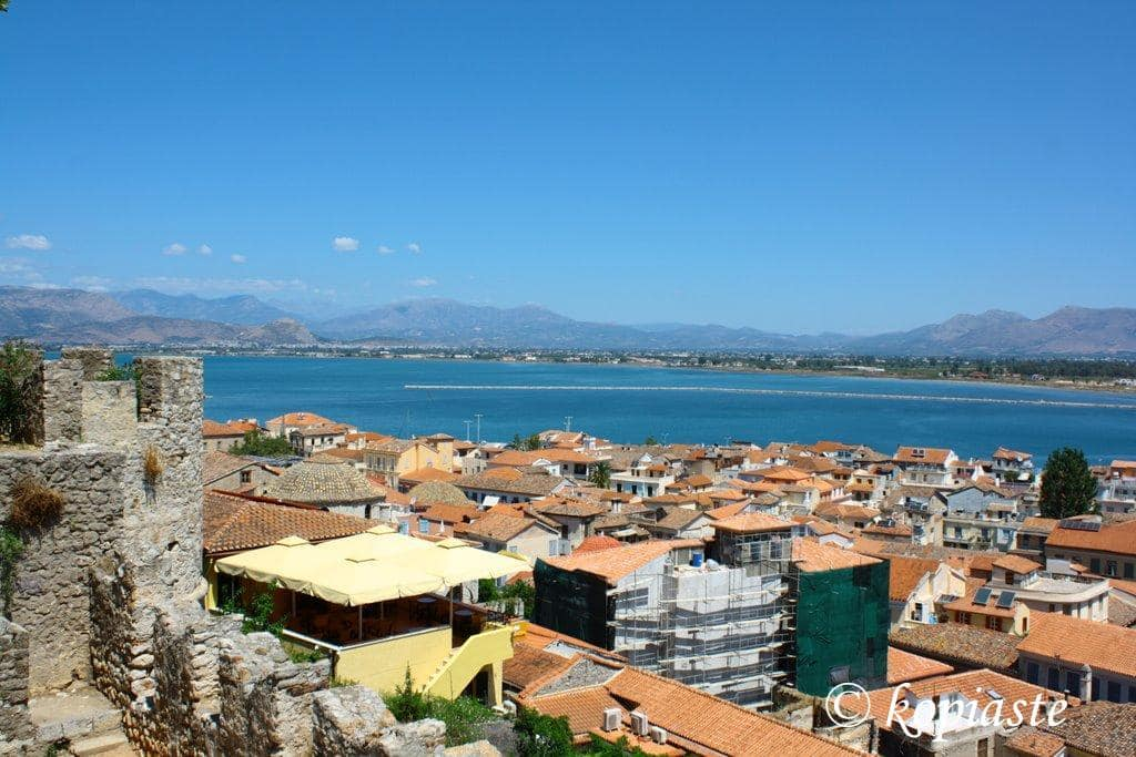 View from Acronafplia top - Part of wall and town roofs