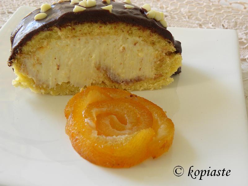 Chocolate Bergamot Roulade cut