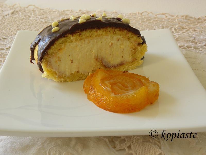 Chocolate Bergamot Roulade  with bergamot spoon sweet