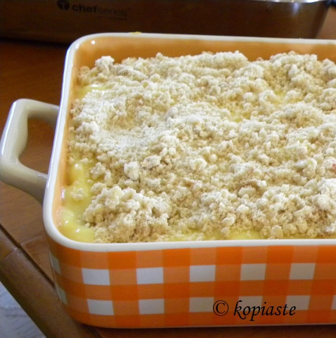 Apricot and Peach Crumble pudding