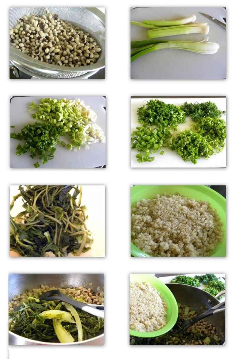 collage Aromatic Mavrommatica with wild greens