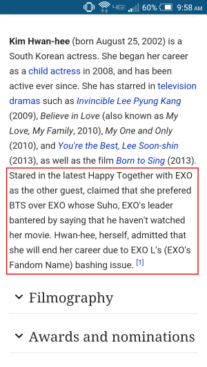 Image: Some otherpretend edit to Kim Hwan Hee's Wikipedia page with a false statement made by the actress.