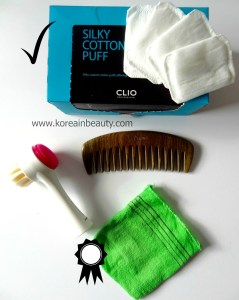My favourite Asian Beauty tools: Cotton pads, Face brush, Wooden Comb and Korean Italy towel