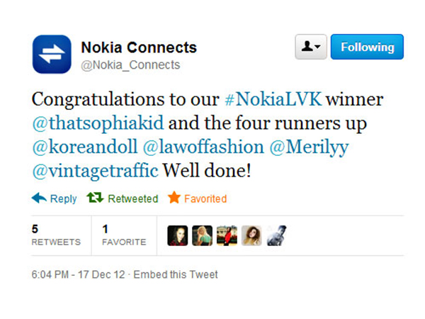 NokiaLVK LeiVanKash fashion quest winner