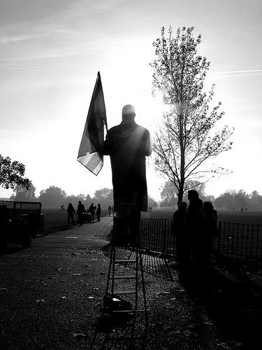 city london black and white park photo