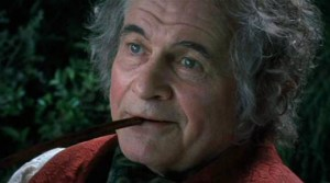 Ian Holm as Bilbo Baggins in The Lord Of The Rings