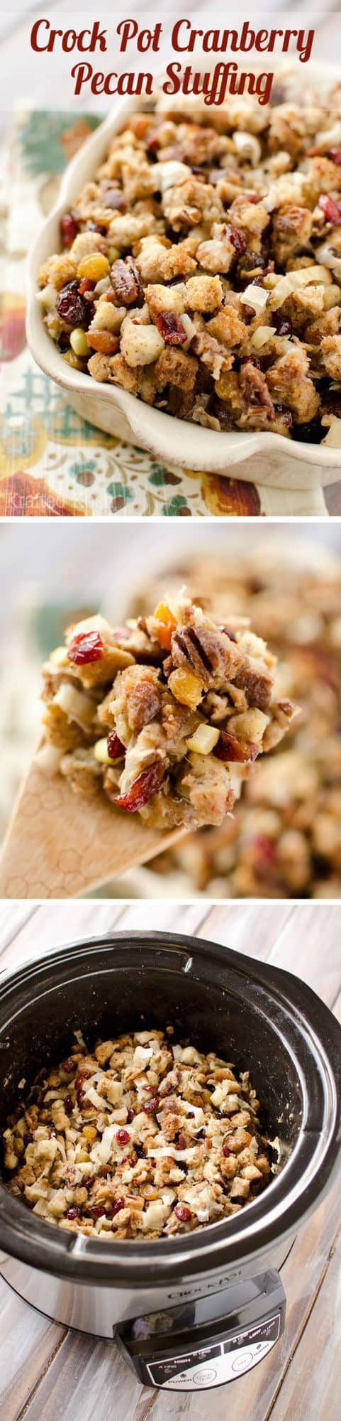 crock pot cranberry pecan stuffing is a light and moist stuffing made ...