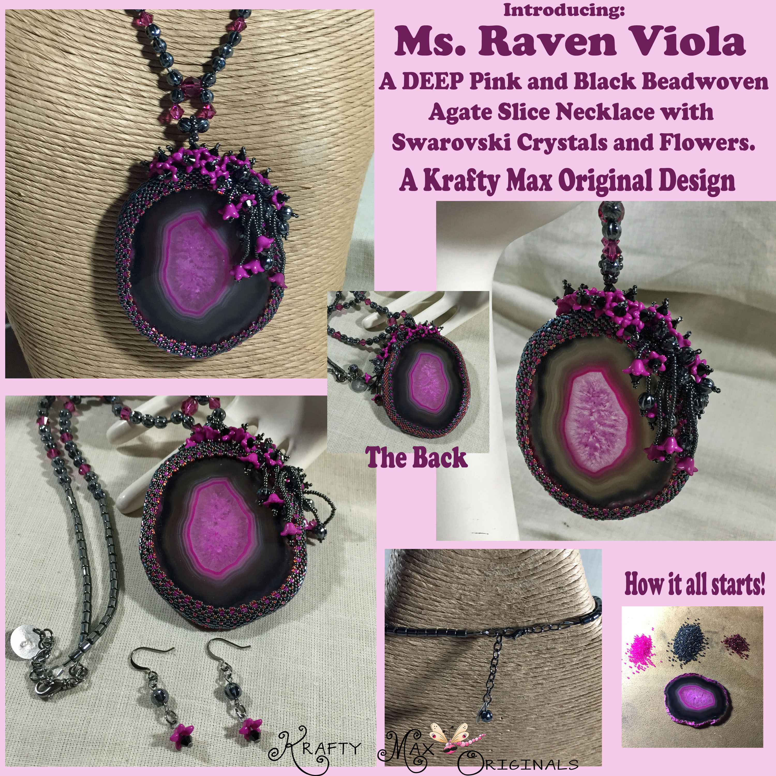 Ms. Raven Viola Handmade Beadwoven Sliced Agate and Swarovski Necklace