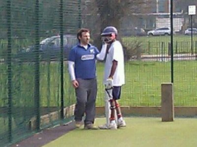 Touching moment ... Dan and Sham in the nets