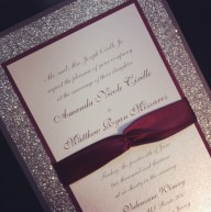 Glitter Wedding Invitation with Ribbon