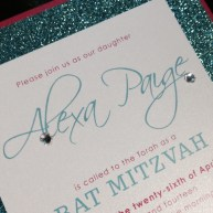 Glitter Bat Mitzvah Invitation